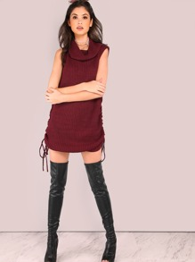 Cowl Neck Waffle Knit Dress BURGUNDY