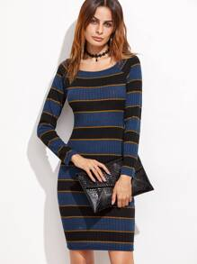 Multicolor Striped Raglan Sleeve Ribbed Sheath Dress