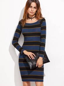 Multicolor Striped Raglan Sleeve Ribbed Sheath Dress