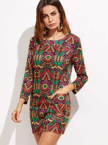 Ornate Print Long Sleeve Dress With Pockets