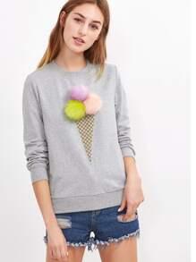 Sweat-shirt imprimé crème glacée duveteux - gris