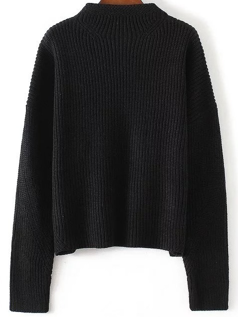 Black Crew Neck Drop Shoulder Knitwear sweater161014207