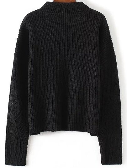 Black Crew Neck Drop Shoulder Knitwear