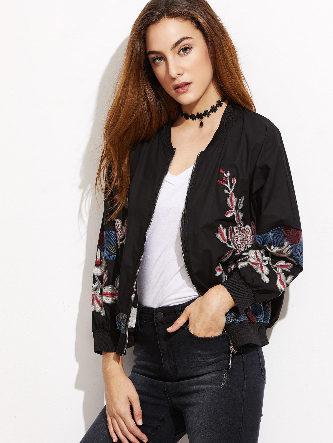 Black Flower Embroidered Ribbed Trim Bomber Jacket jacket161018401