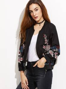 Flower Embroidered Ribbed Trim Bomber Jacket
