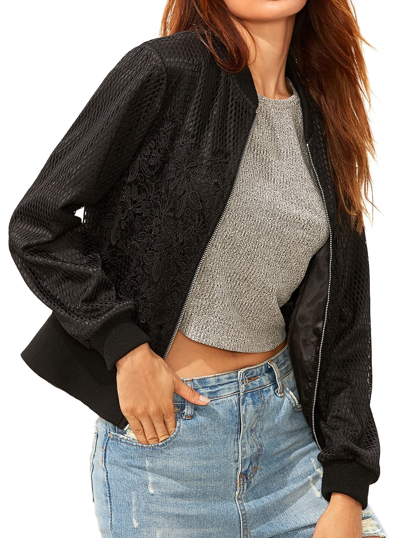 29 Perfect Embroidered Mesh Bomber Jacket