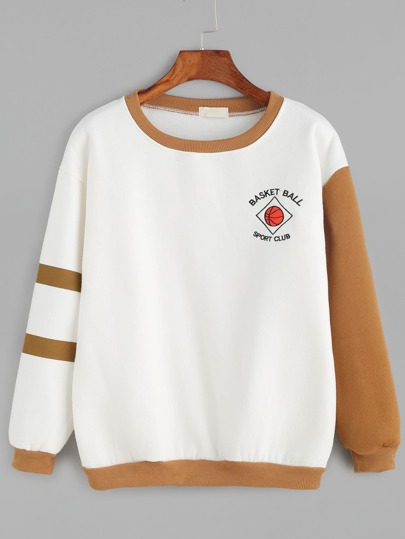 Contrast Basketball Embroidery Sweatshirt