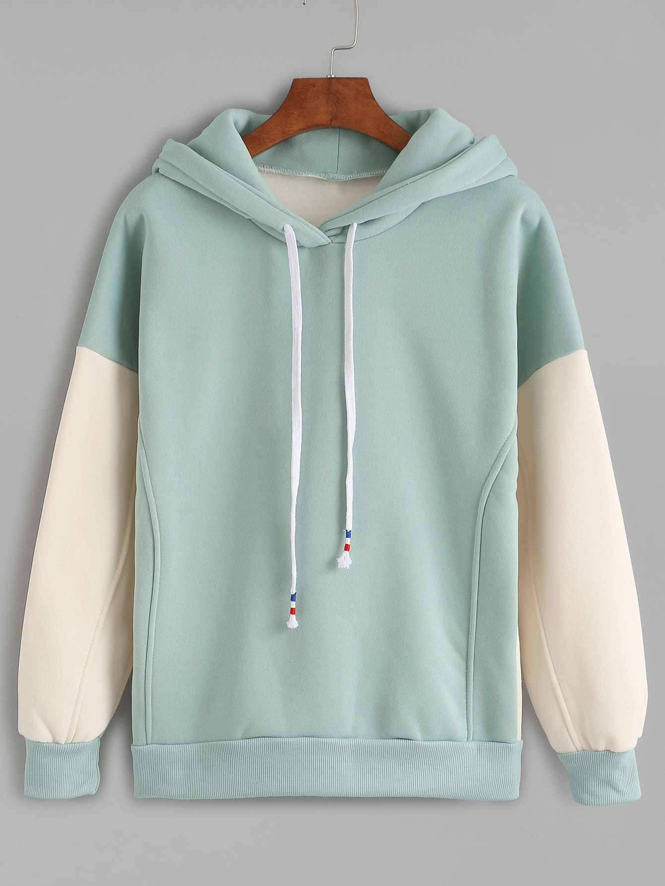 Contrast Sleeve Drawstring Hooded Sweatshirt