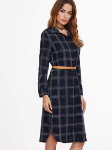 Tartan Plaid Slit Side Curved Hem Dress With Belt