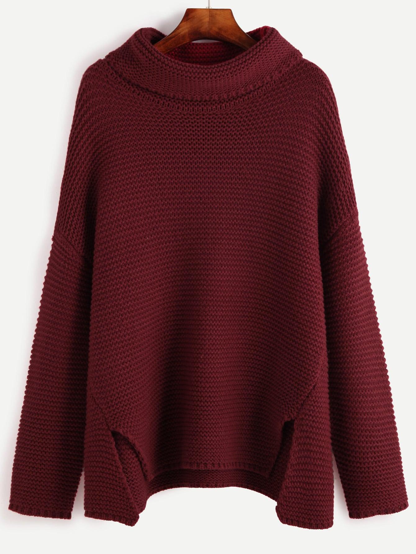 Red Turtleneck Drop Shoulder Slit Front Sweater slit drop shoulder high neck sweater