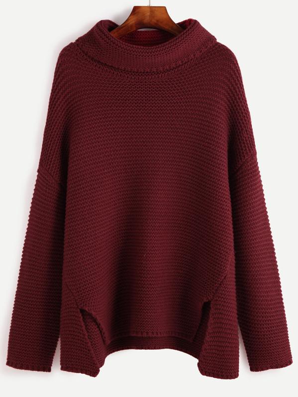 Red Turtleneck Drop Shoulder Slit Front Sweater