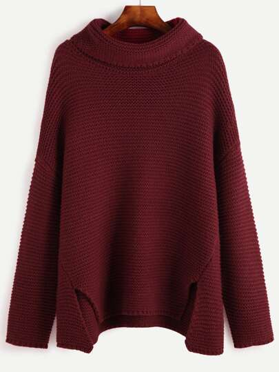 Red Turtleneck Drop Shoulder Slit Front Sweater