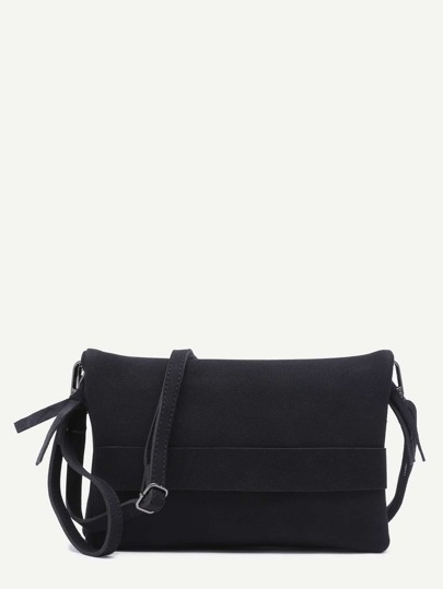 Black Nubuck Leather Flodover Clutch Bag With Strap