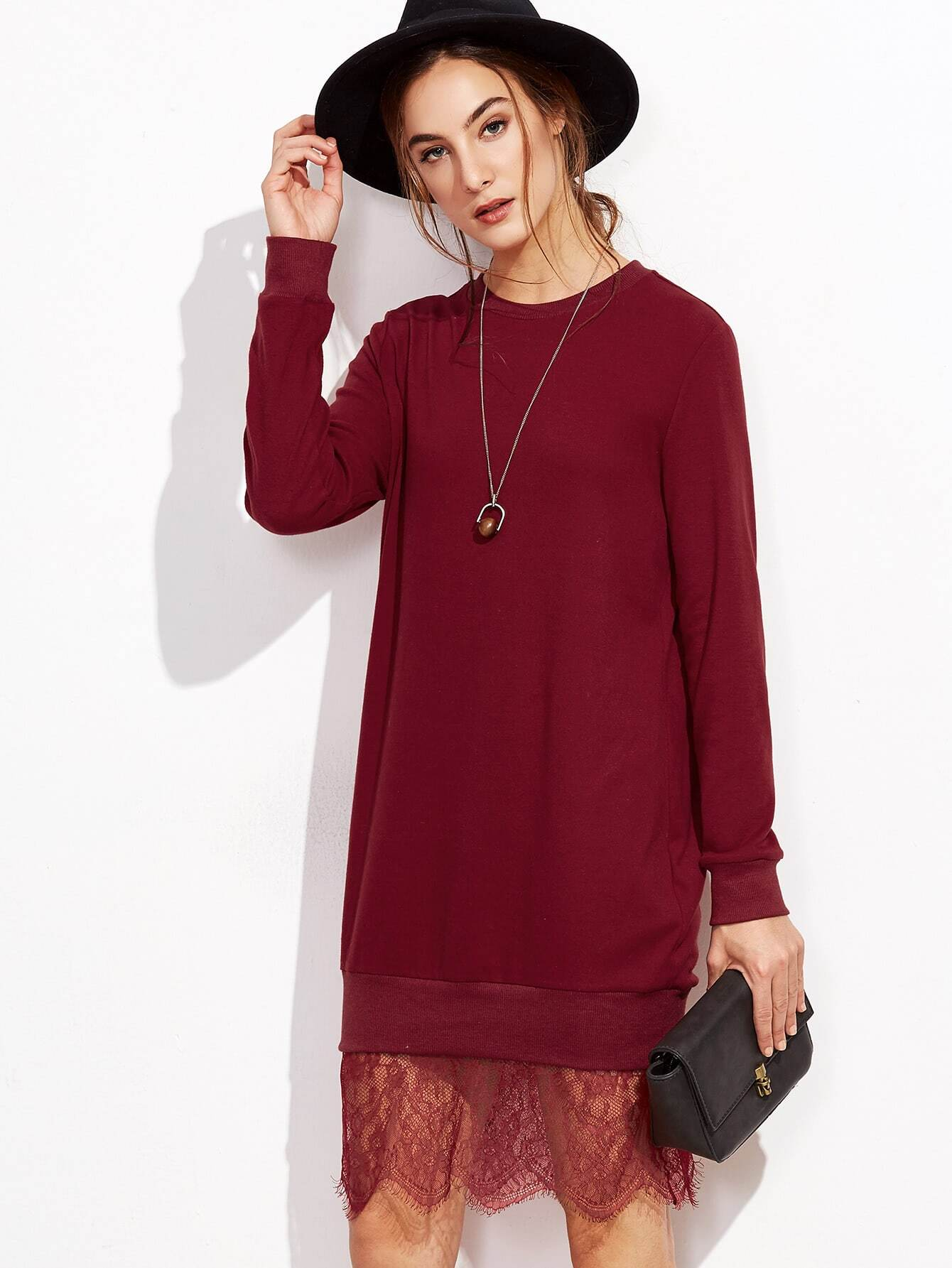 Burgundy Lace Trim Sweatshirt Dress