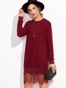 Robe sweat-shirt en dentelle - bordeaux