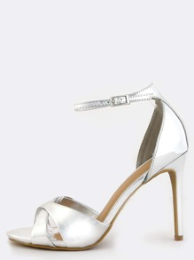 Metallic Criss Cross High Heels SILVER