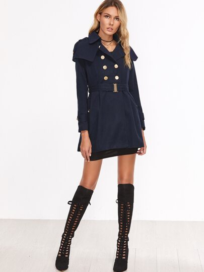 Navy Double Breasted Cape Trench Coat