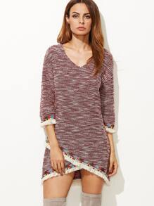 Burgundy Marled Overlap Dress With Embroidered Tape And Fringe Detail