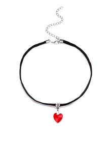 Black Velvet Colored Heart Pendant Choker Necklace