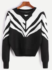 Maglione Ritagliato Pattern Geometrico - Nero Bianco