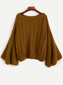 Khaki Bell Sleeve Loose Sweater