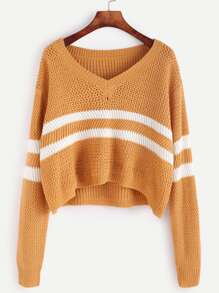 Yellow Striped Chevron Knit Crop Sweater