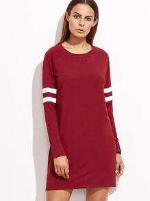 Red Varsity Striped Sleeve Tee Dress