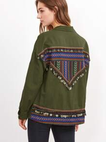 Olive Green Utility Jacket With Embroidered Tape And Coin Fringe