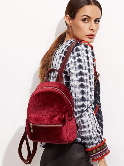 Burgundy Velvet Front Zipper Backpack
