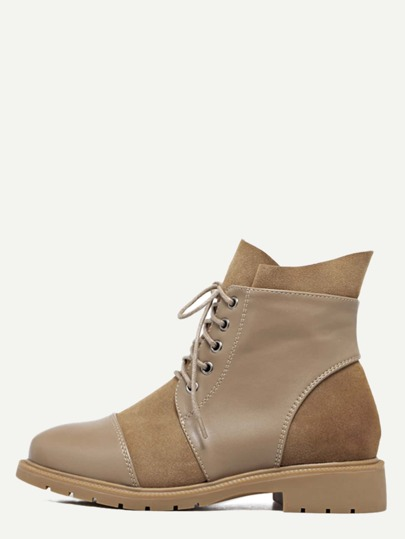 Brown Leather Cap Toe Lace Up Booties