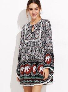 Black Tribal Print Keyhole Neck Lace Trim Tunic Dress