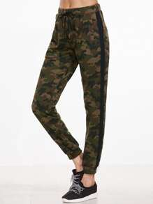 Camouflage Print Contrast Sideseam Drawstring Sweatpants