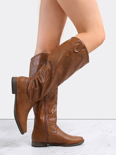 Almond Toe Knee High Boots CHESTNUT