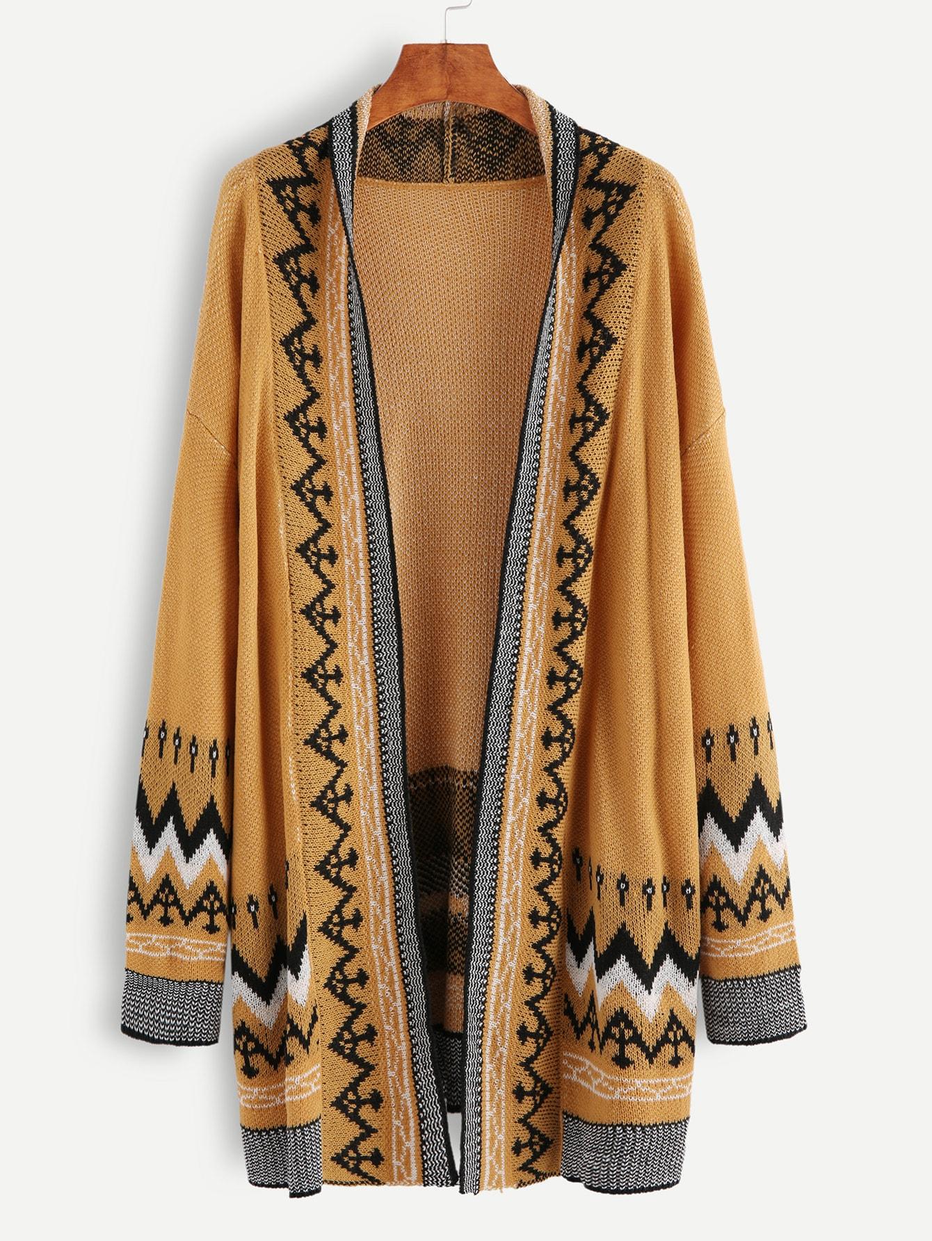 Khaki Drop Shoulder Seam Open Front Sweater Coat sweater161012405