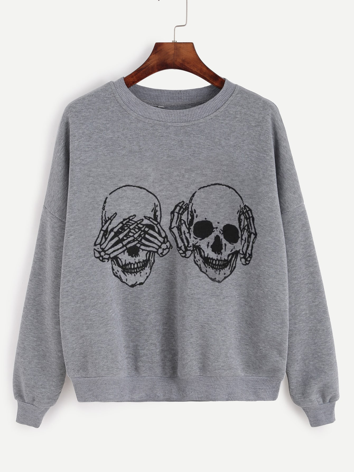 Skull Print Drop Shoulder Sweatshirt