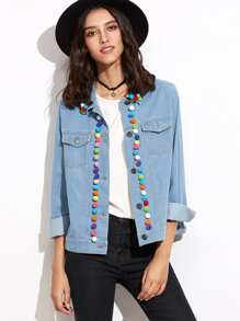 Blue Pom Pom Trim Denim Jacket