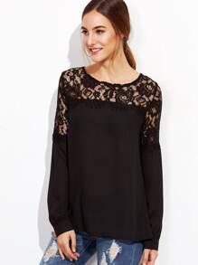 Black Lace Insert Button Back Blouse