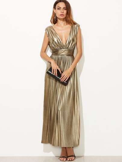 Metallic Gold Plunge Neck High Waist Pleated Dress