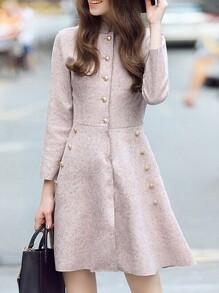 Pink Collar Pockets A-Line Dress