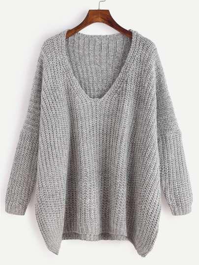 Pull tricoté marné col V - gris