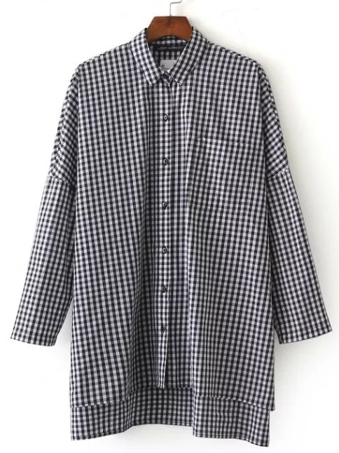 Gingham Plaid Drop Shoulder Slit Side High Low Shirt blouse161015202
