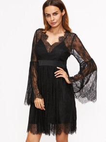 Black Floral Lace Overlay Bell Sleeve Dress