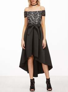 Black Off The Shoulder Lace Top Pleated High Low Dress