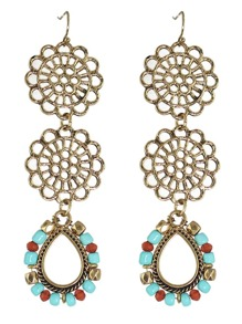 Vintage Style Colored Beads Flower Shape Long Earrings