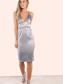 Crossback Satin Dress SILVER