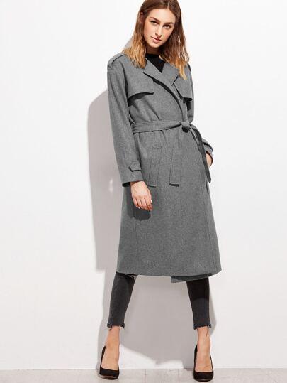 Heather Grey Collarless Wrap Coat With Gun Flap