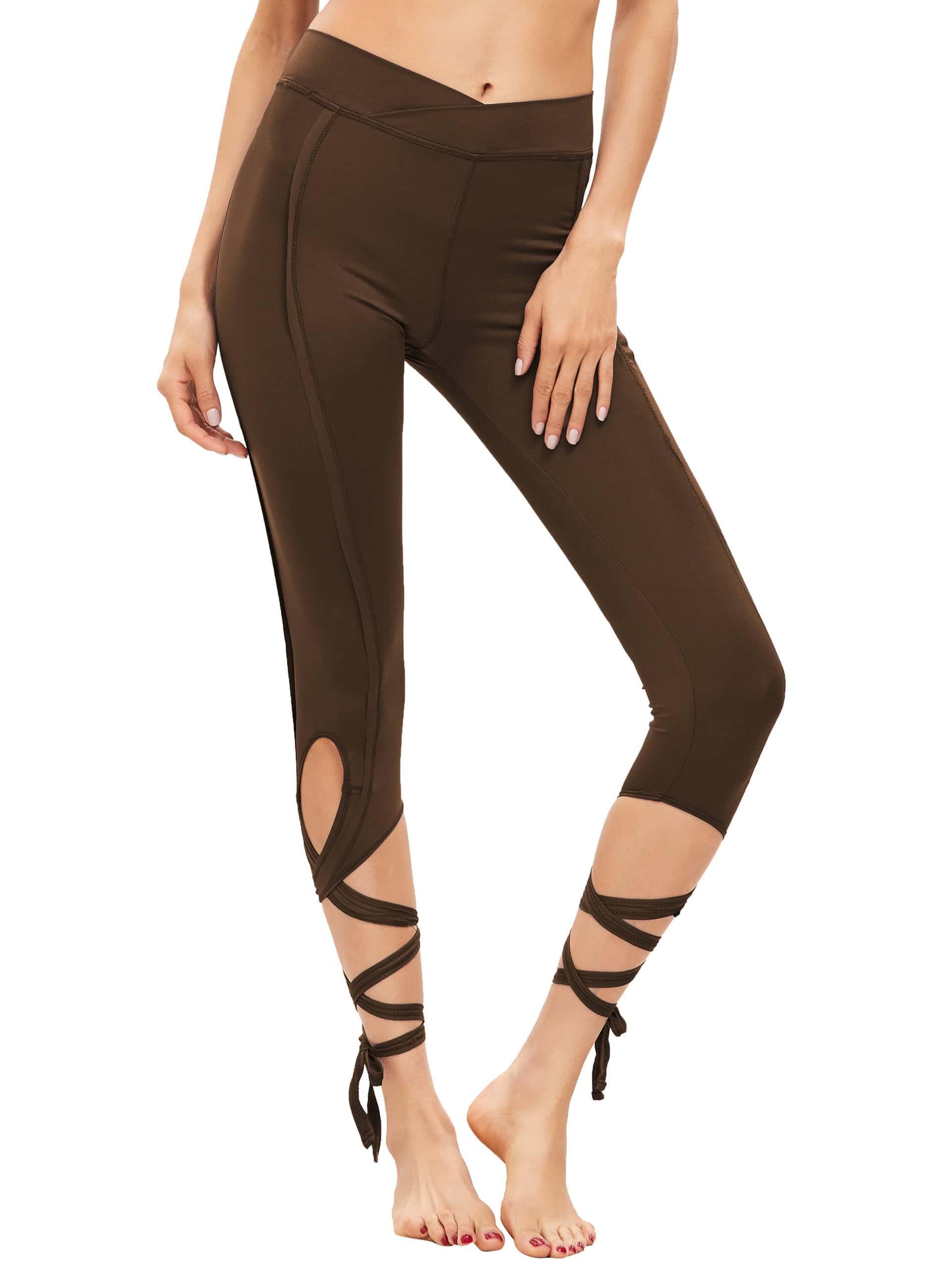 Фото Brown Hollow Tie Skinny Leggings. Купить с доставкой