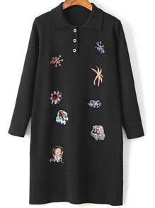 Black Embroidery Lapel Knit Dress With Button