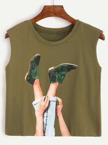 Army Green Graphic Print Crop Top