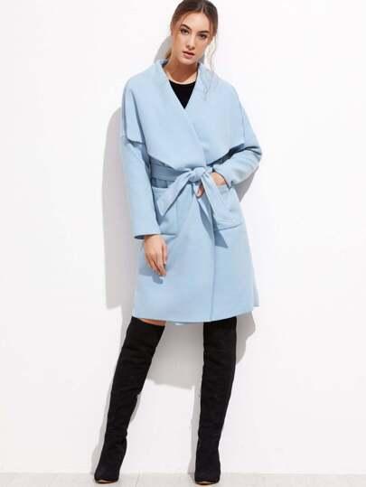 Blue Drop Shoulder Drape Collar Wrap Coat